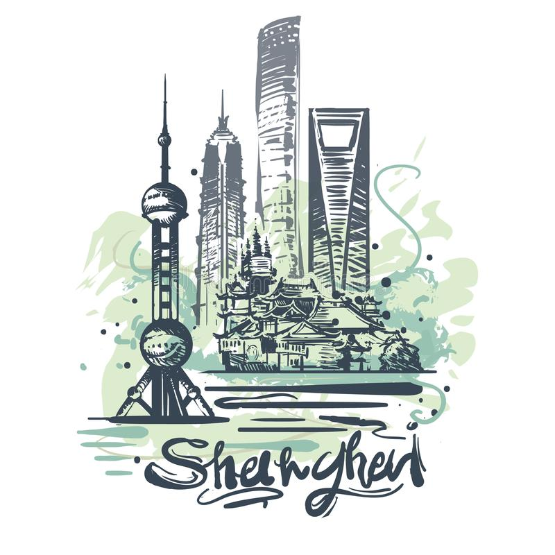 Dibujo abstracto del color de Shangai Ejemplo del vector del bosquejo de Shangai stock de ilustración