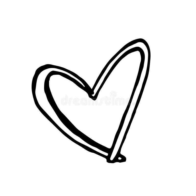 Dibujo abstracto del garabato del grunge Corazón del vector del garabato fotografía de archivo libre de regalías
