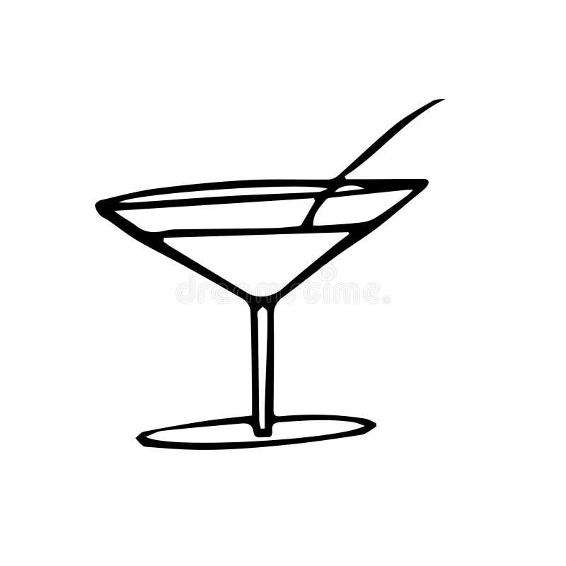 Dibujo abstracto del garabato del grunge Dibujo de la carta blanca del vector de un coctail del verano ilustración del vector
