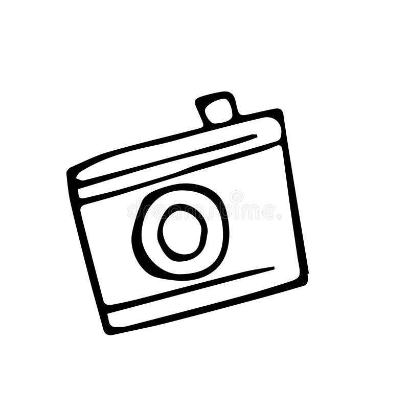 Dibujo abstracto del garabato del grunge Imagen del vector de un photocamera stock de ilustración