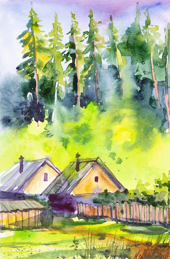 Dibujo acuarela de las casas de las aldeas en primer plano. Bosque verde en el fondo stock de ilustración