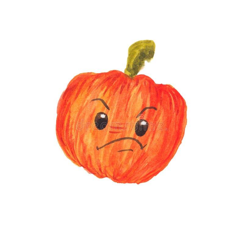 Dibujo acuarela de una calabaza naranja triste libre illustration