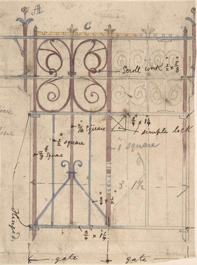 Dibujo arquitectónico antiguo del proyecto del plan de bosquejo libre illustration
