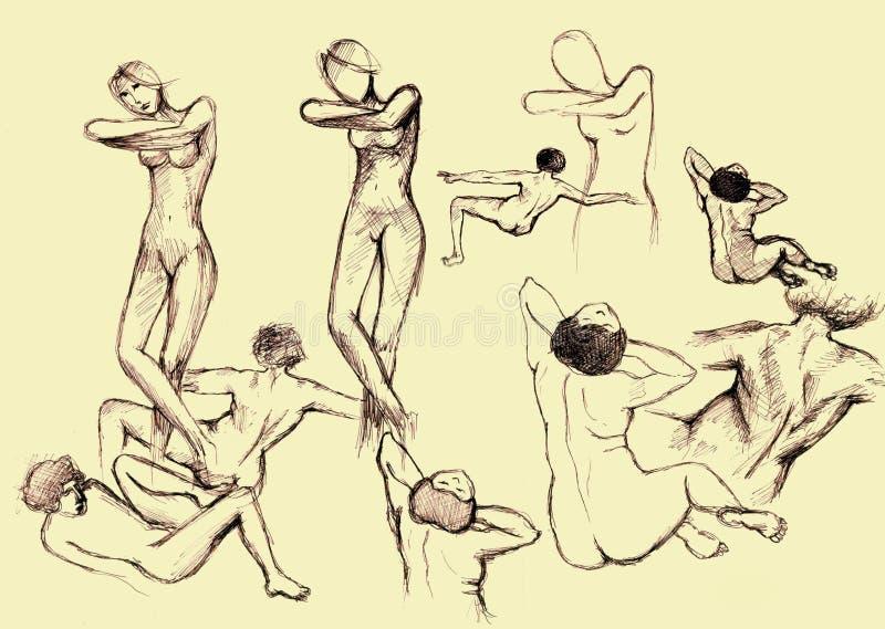 Dibujo artístico de la gente stock de ilustración