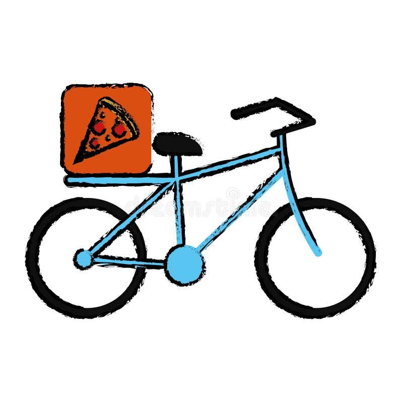 Dibujo azul de la bicicleta de la entrega de la comida de - La bici azul ...