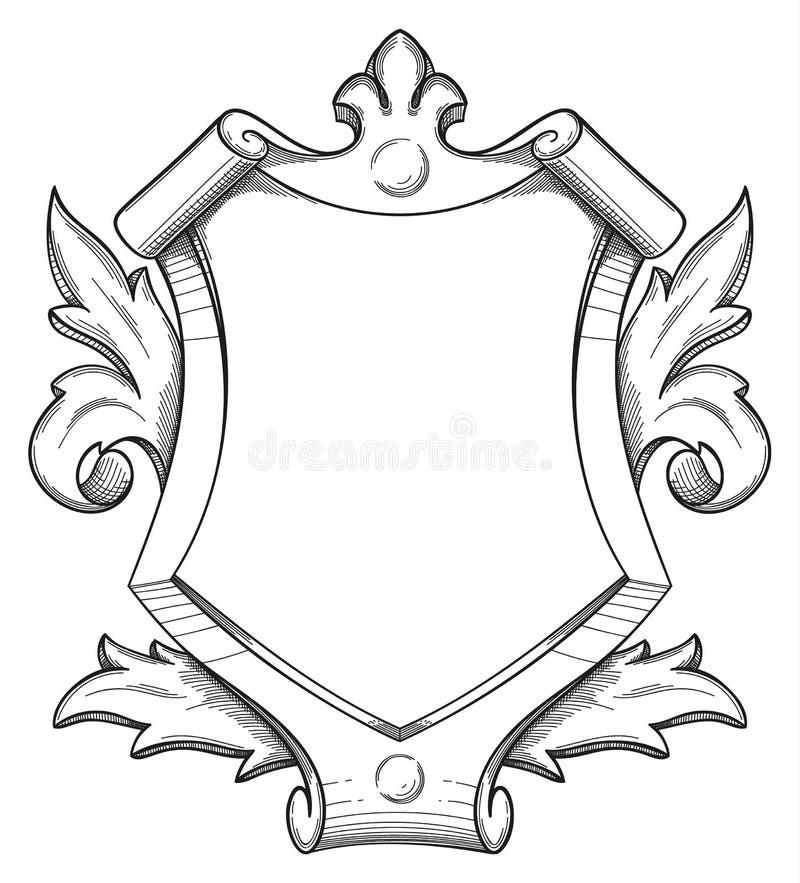 Dibujo barroco del escudo libre illustration