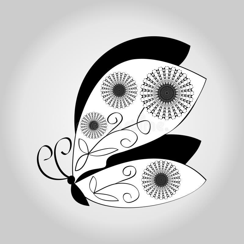 Dibujo Blanco Y Negro De La Mariposa En Fondo Gris De La Pendiente ...