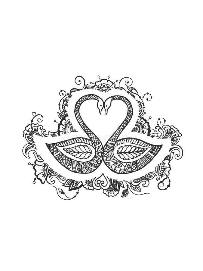 Dibujo blanco y negro de los cisnes stock de ilustración