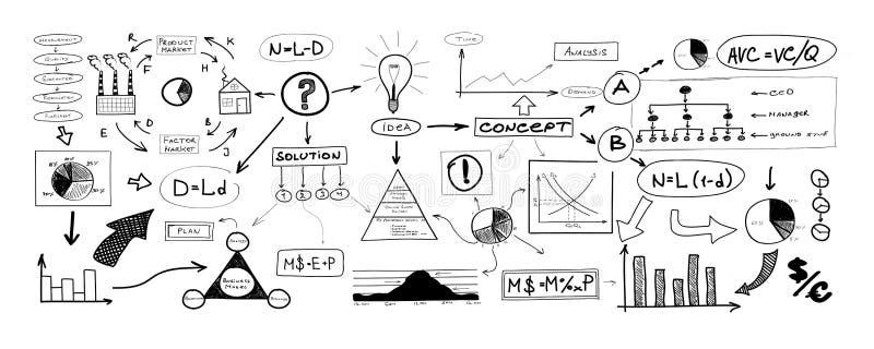 Dibujo blanco y negro de muchos diversos elementos del negocio stock de ilustración