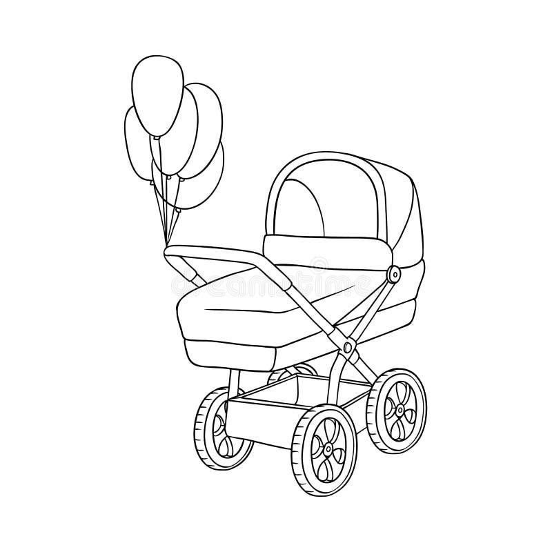 Dibujo blanco y negro del carro de bebé, cochecito de niño stock de ilustración