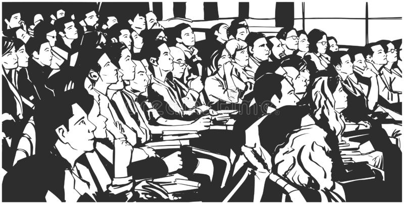 Dibujo blanco y negro detallado de la tinta de la audiencia del cine del teatro en vector de la perspectiva stock de ilustración