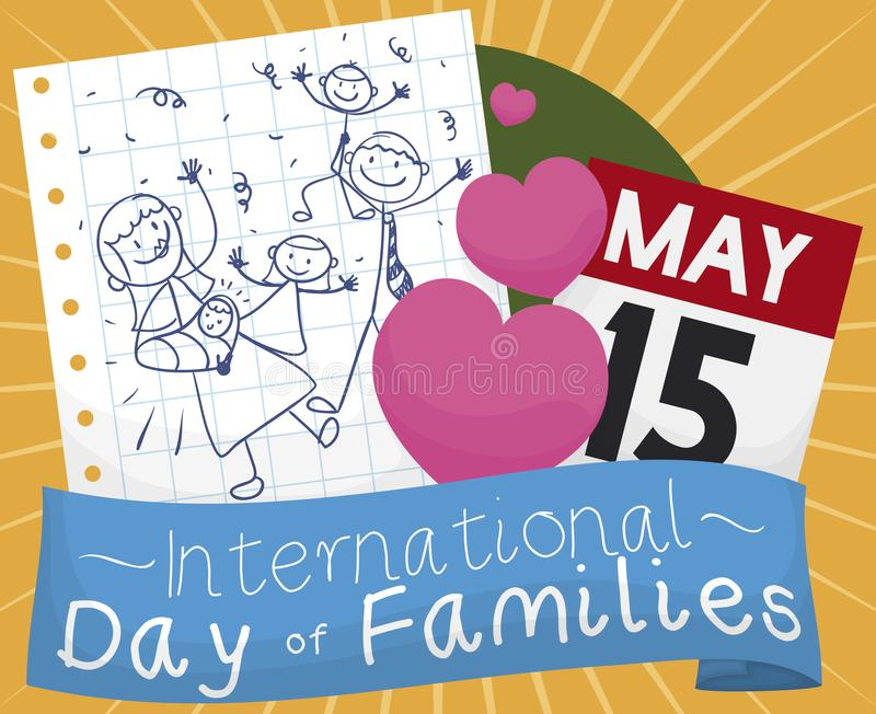 Dibujo, calendario, corazones lindos y cinta para celebrar el día de la familia, ejemplo del vector libre illustration