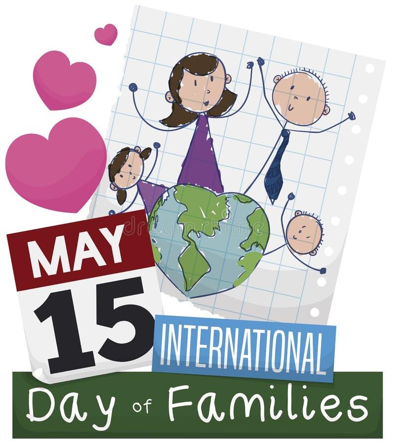 Dibujo, calendario y corazones promoviendo el día internacional de familias, ejemplo del vector stock de ilustración