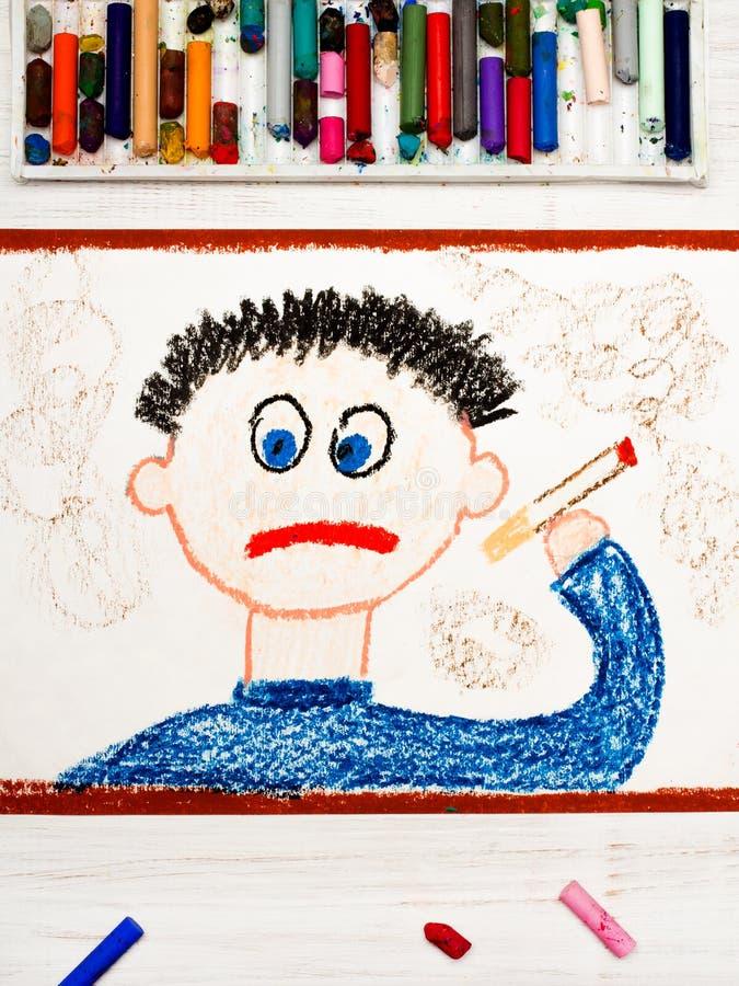 Dibujo: Cigarrillo que fuma del hombre triste ilustración del vector