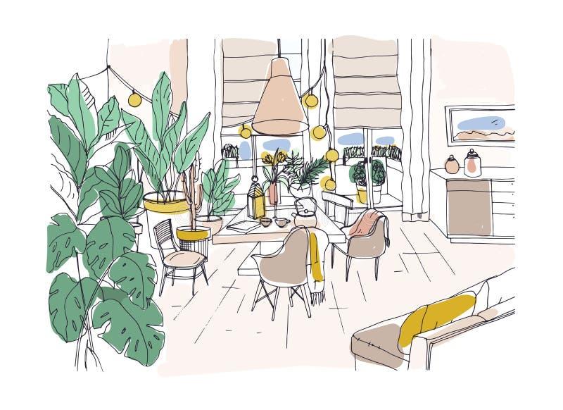 Dibujo coloreado de la cena acogedora o de la sala de estar equipada en estilo moderno del hygge de Scandic con la tabla, sillas, libre illustration