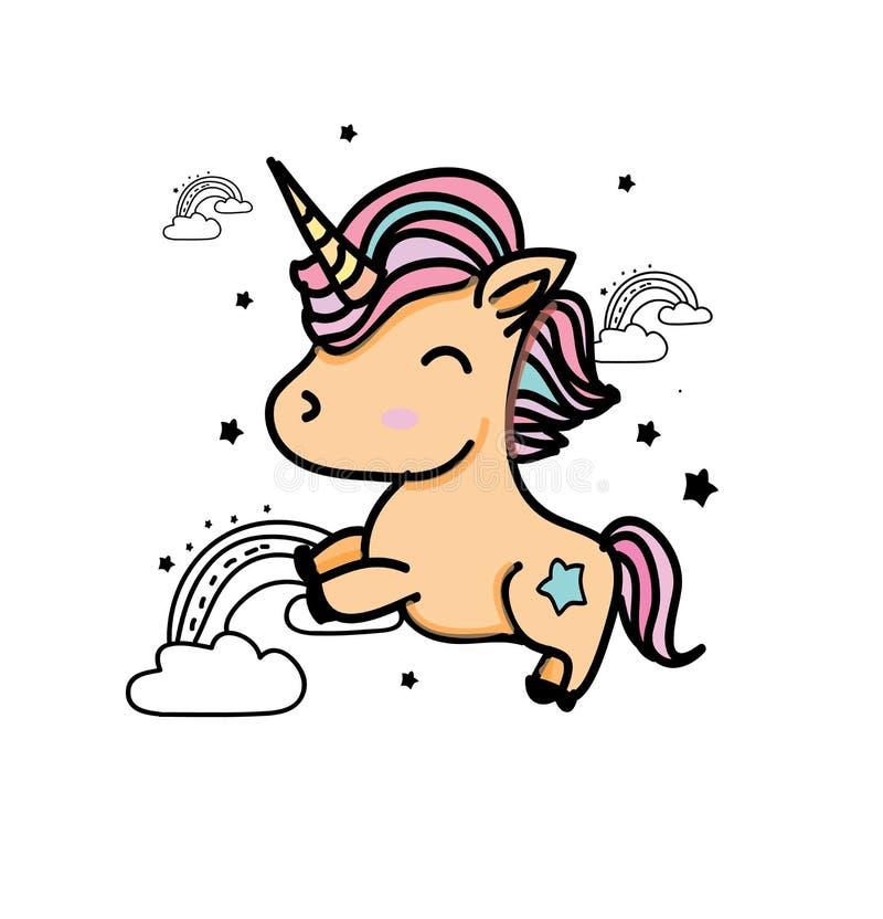 Dibujo colorido con unicornios stock de ilustración