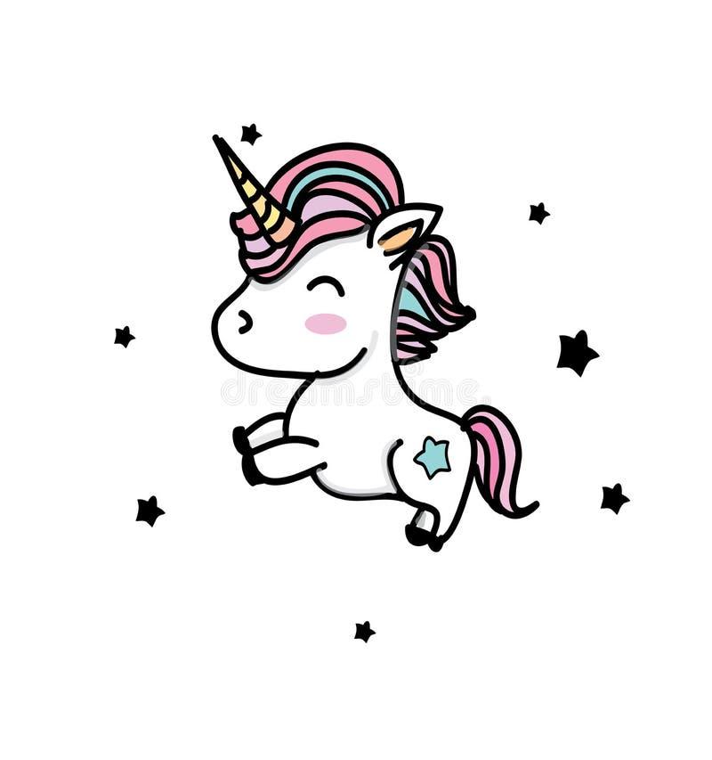Dibujo colorido con unicornios libre illustration