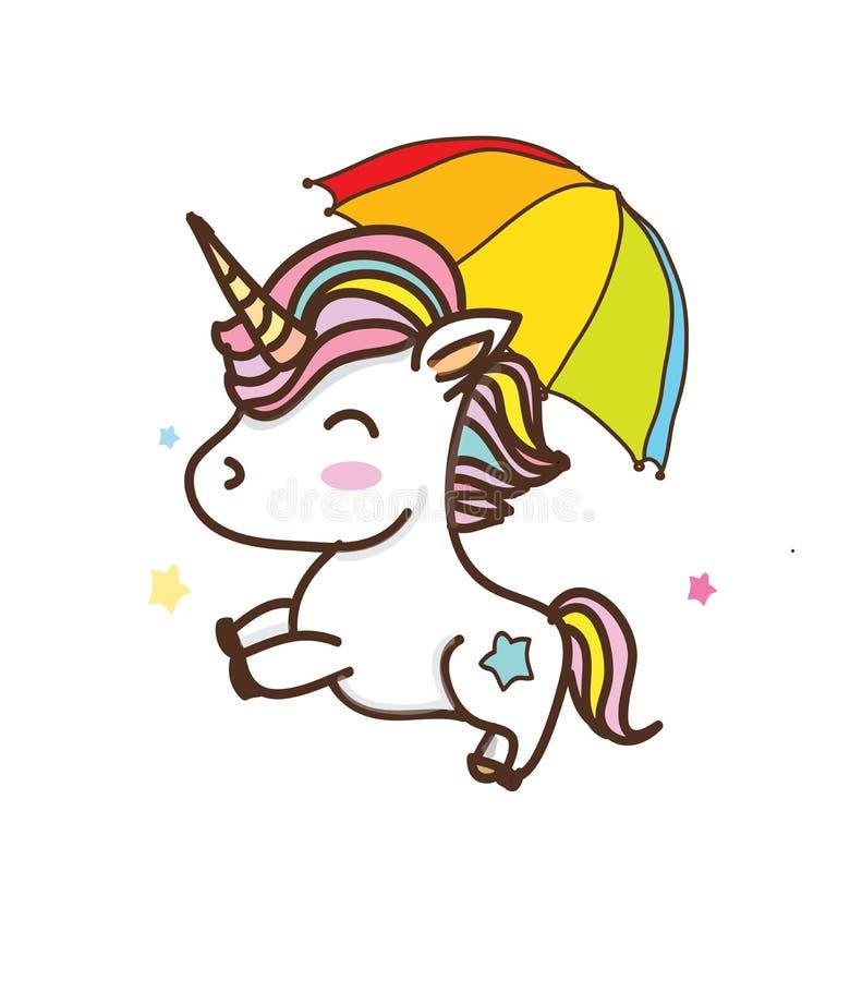 Dibujo colorido con unicornios ilustración del vector
