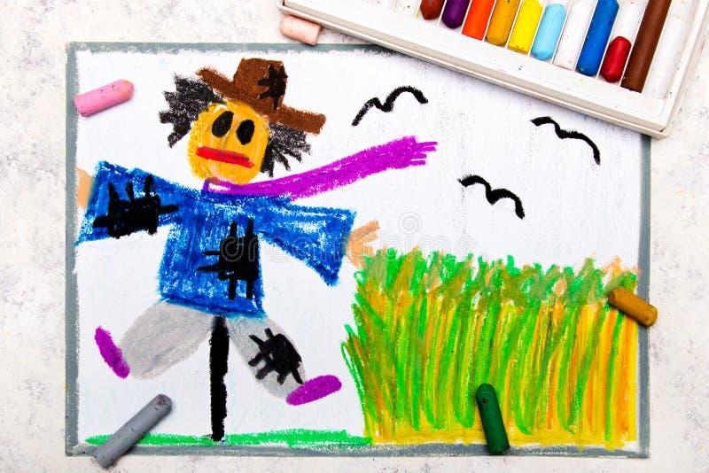 Dibujo colorido de la mano: espantapájaros asustadizo ilustración del vector