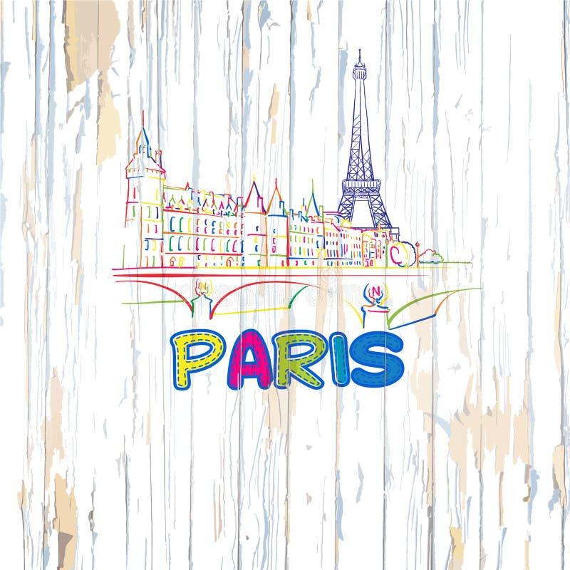 Dibujo colorido de París en fondo de madera ilustración del vector
