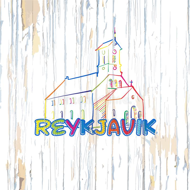 Dibujo colorido de Reykjavik en fondo de madera libre illustration