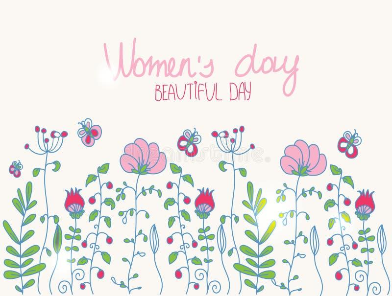dibujo colorido del mujeres felices stock de ilustración
