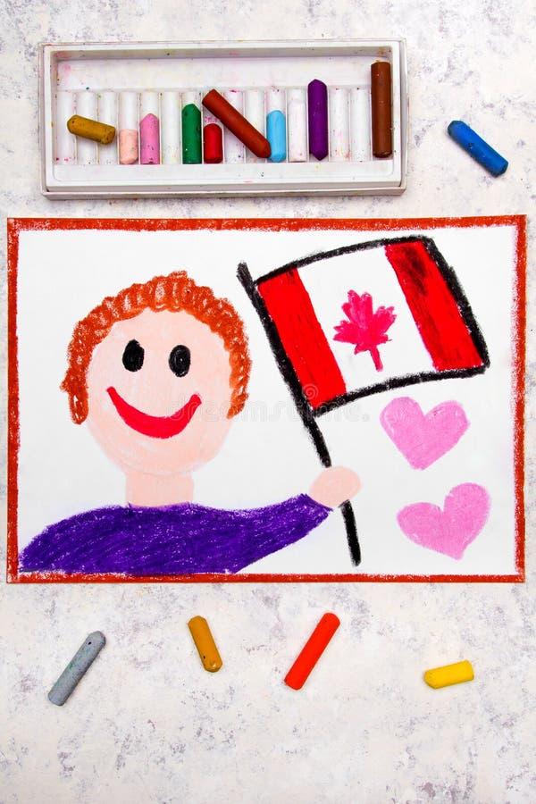 Dibujo colorido: Hombre feliz que sostiene la bandera canadiense imagenes de archivo
