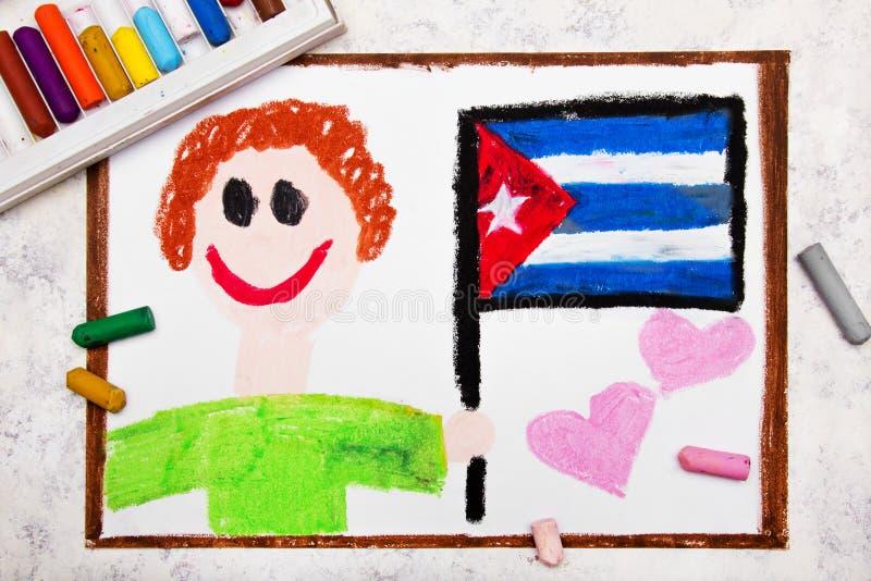 Dibujo colorido: Hombre feliz que sostiene la bandera cubana stock de ilustración