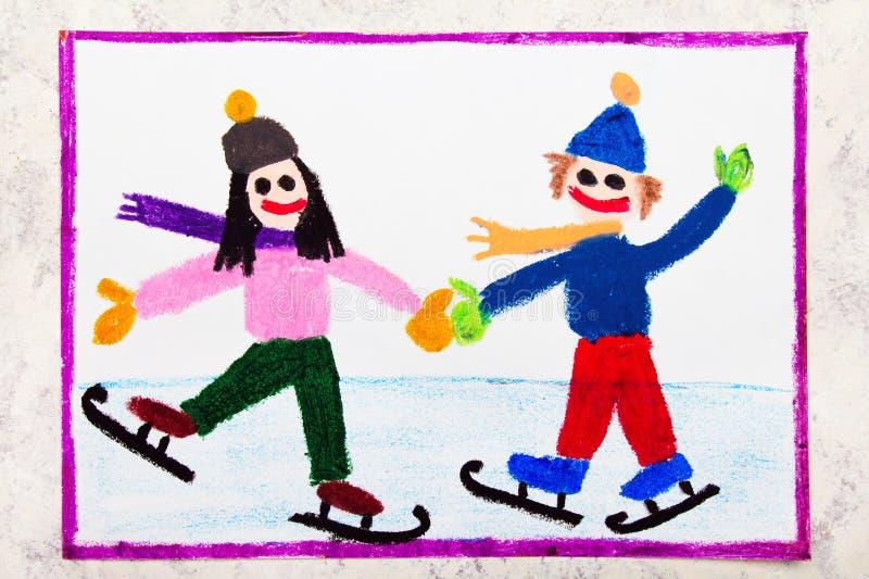 Dibujo colorido: los niños son patinaje de hielo en la pista de hielo imagen de archivo