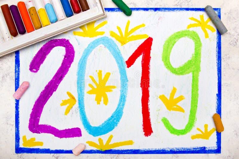 Dibujo colorido: Tarjeta 2019 de la Feliz Año Nuevo ilustración del vector