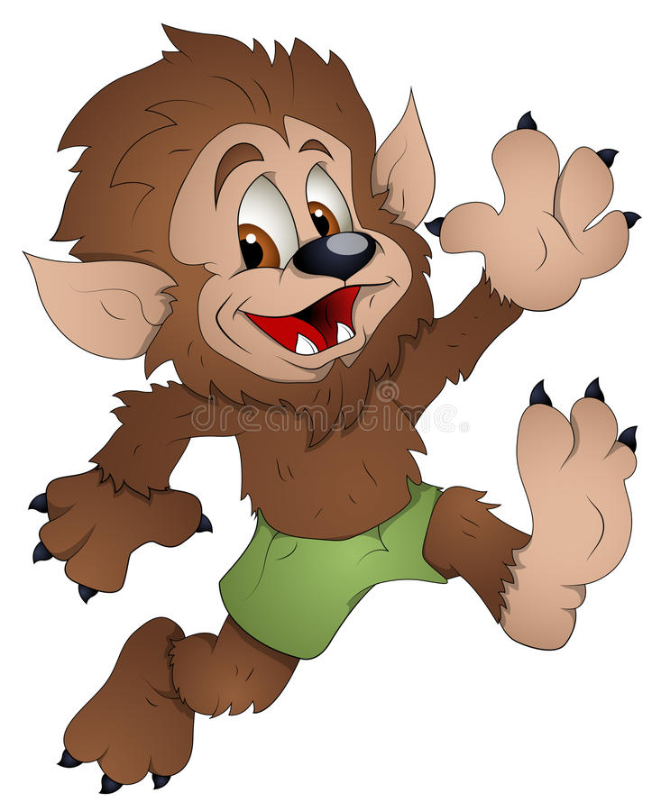 Hombre lobo lindo - personaje de dibujos animados - ejemplo del vector ilustración del vector