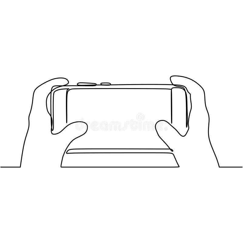 Dibujo continuo de líneas de juego para móviles en smartphones stock de ilustración