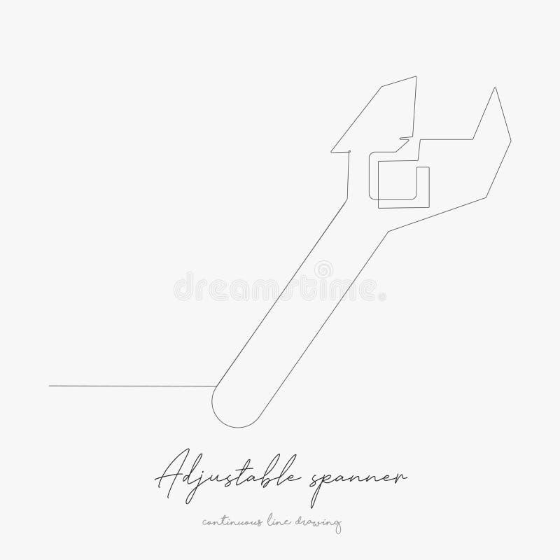 Dibujo continuo de líneas protector ajustable ilustración vectorial simple línea de dibujo manual del concepto de spanner ajustab ilustración del vector