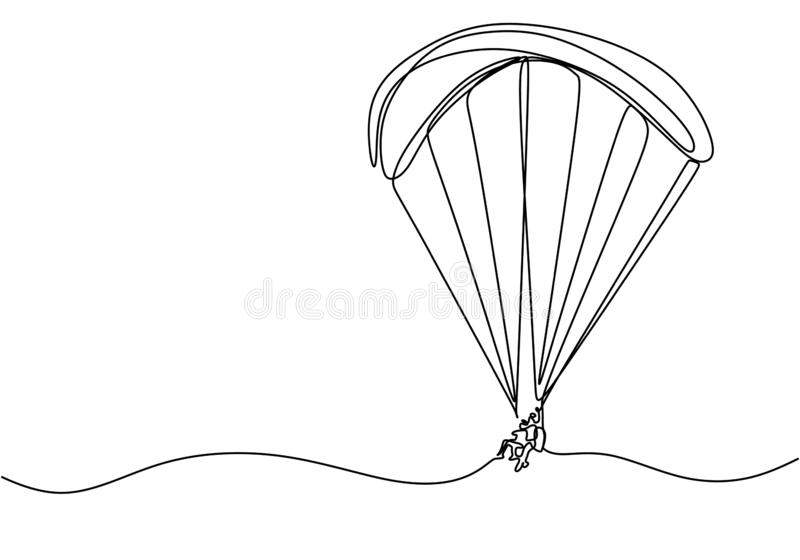 Dibujo continuo del juego deportivo de paracaídas aéreo. Concepto de temática de la aventura y el fabricante de adrenalina stock de ilustración