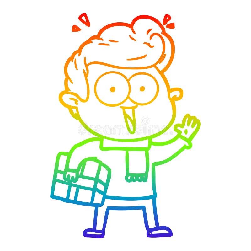 Dibujo creativo de caricatura de gradiente arcoiris excitado con presente stock de ilustración
