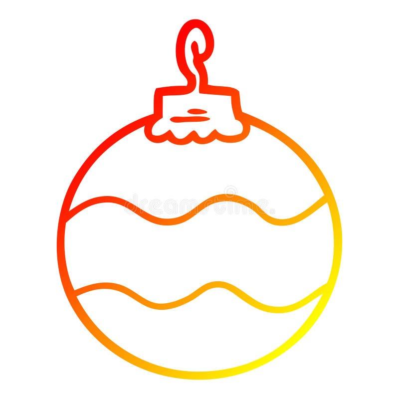 Dibujo creativo de líneas de degradado cálido caricaturas navidad bauble stock de ilustración