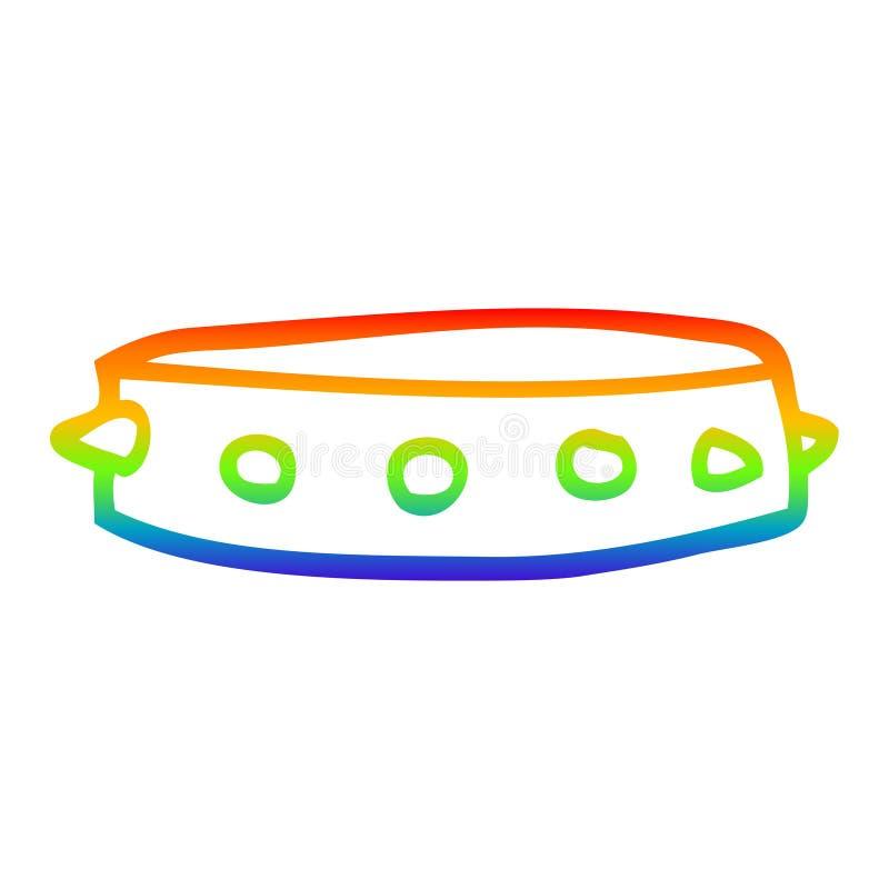 Dibujo creativo en gradiente arco iris dibujado en un collar de perros con puntas libre illustration