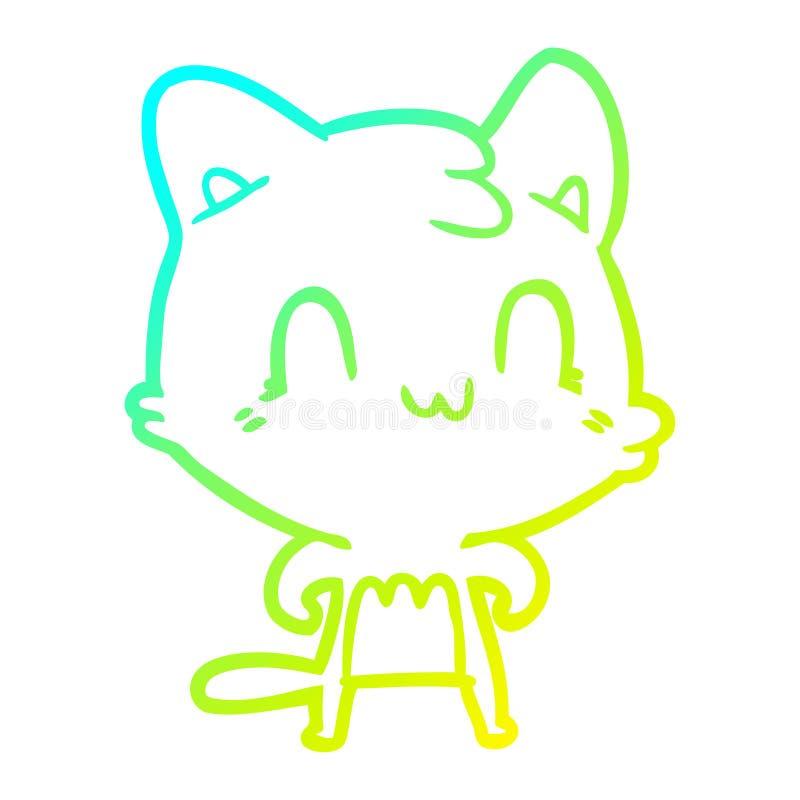 Dibujo creativo en gradiente frío dibujando felino feliz stock de ilustración
