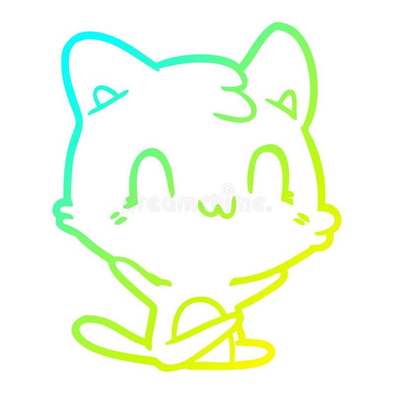 Dibujo creativo en gradiente frío dibujando felino feliz ilustración del vector