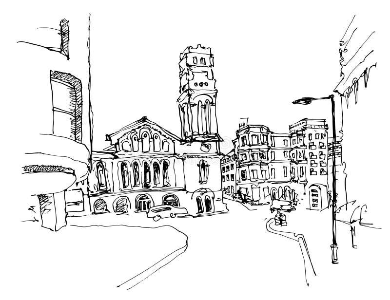 Dibujo de bosquejo blanco y negro de la tinta del lugar famoso en Londres ilustración del vector