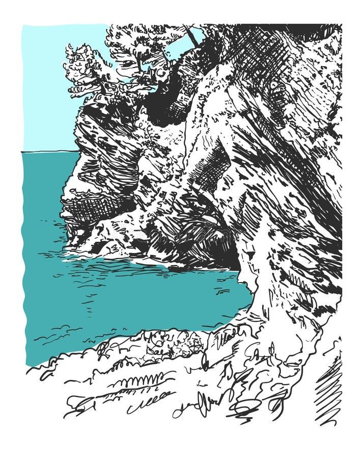 Dibujo de bosquejo de la roca de la naturaleza en el mar adriático en Petrovac Monten ilustración del vector