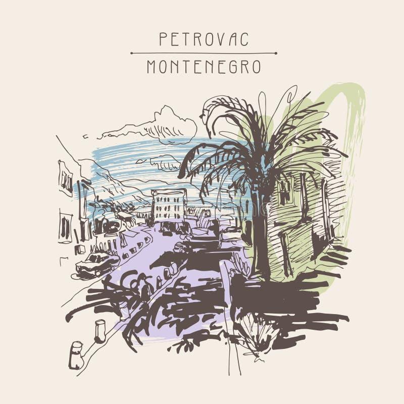 Dibujo de bosquejo de la sepia de la calle de Petrovac Montenegro con la palma stock de ilustración