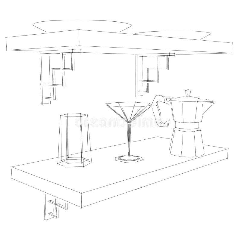 Dibujo de bosquejo del artículos de cocina en estante libre illustration