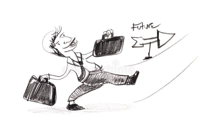 Dibujo de bosquejo del hombre de negocios que sostiene el bolso dos entusiasta libre illustration