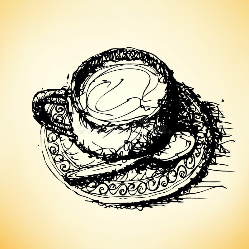 Dibujo de bosquejo del vector del café stock de ilustración