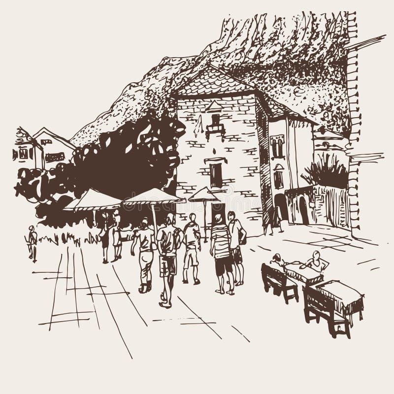 Dibujo de bosquejo original de la sepia de la calle de Kotor - lugar famoso adentro ilustración del vector