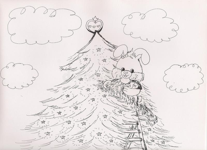 Dibujo de Bunny Rabbit Decorating Christmas Tree dulce, 2018 ilustración del vector