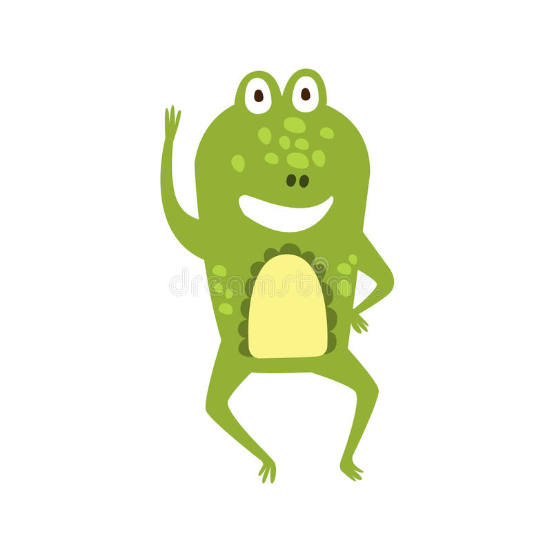 Dibujo de carácter animal de saludo de la historieta de la rana que agita del reptil amistoso plano del verde libre illustration