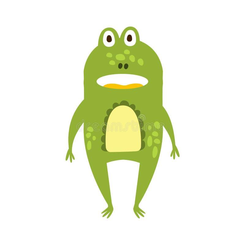 Dibujo de carácter animal del revestimiento de la rana de la historieta del reptil amistoso plano derecho del verde libre illustration
