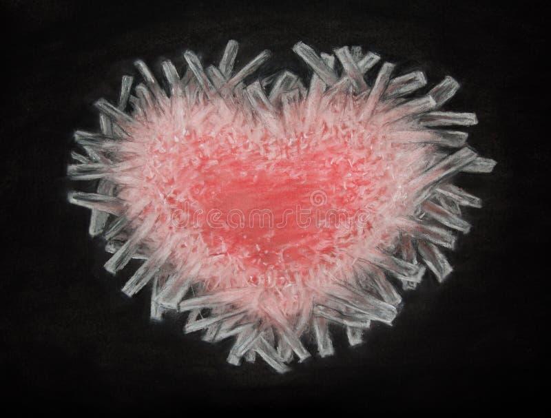 Dibujo de carbón de leña del corazón congelado aislado en el fondo negro, corazón rojo del hielo, corazón quebrado, amor ilustración del vector